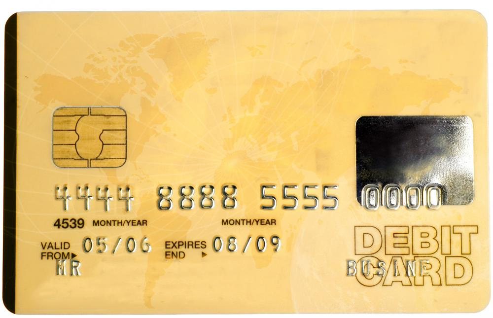 Debit cards can be used to withdraw money from an ATM.