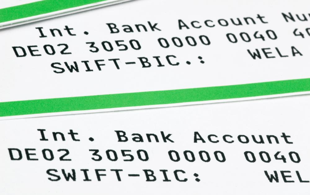 A bank account number is listed along with the SWIFT code, which is a means of identification.